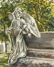 Painting of a cemetery angel
