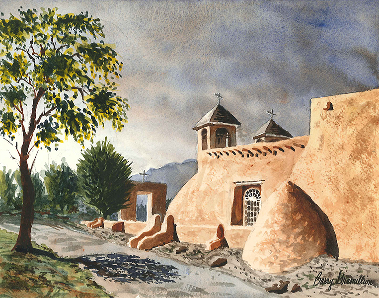 Painting of a church in New Mexico
