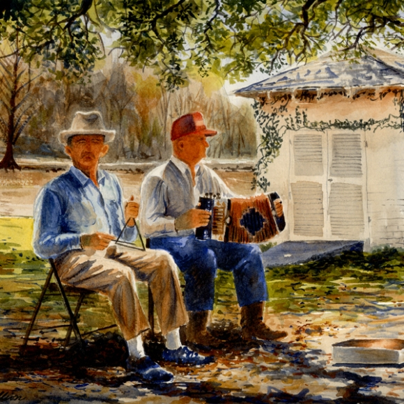 Watercolor of two musicians