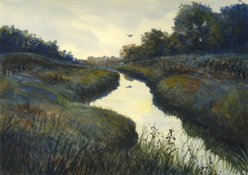 Watercolor of canal and bird