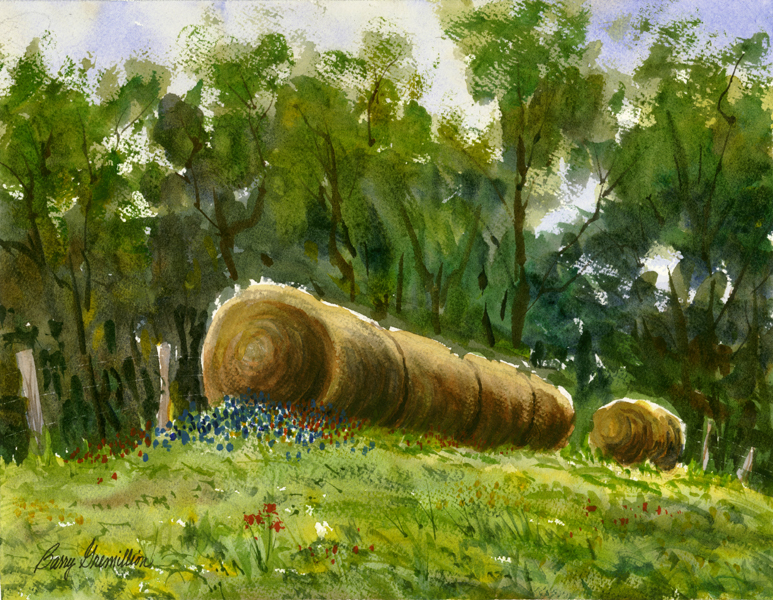 Watercolor of rolls of hay