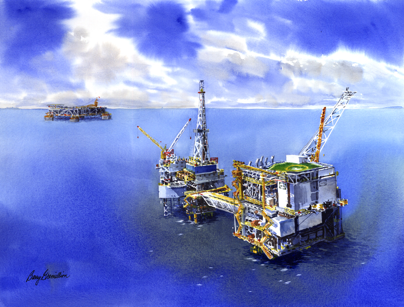 Watercolor of oil rig