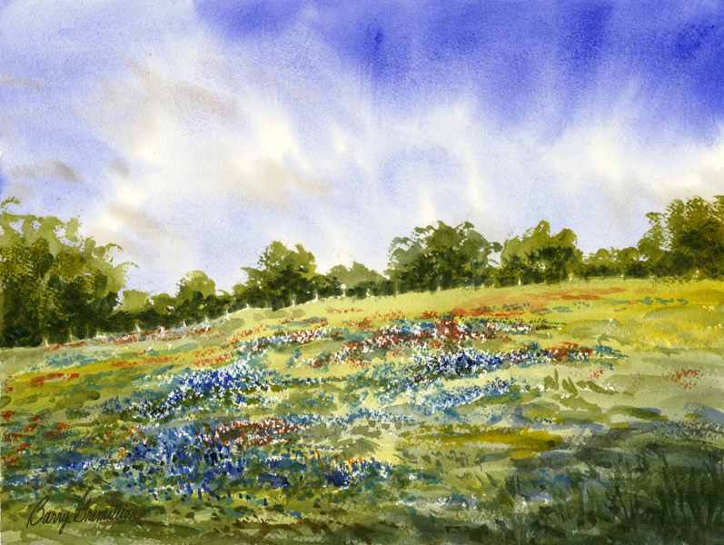 Watercolor of Bluebonnets