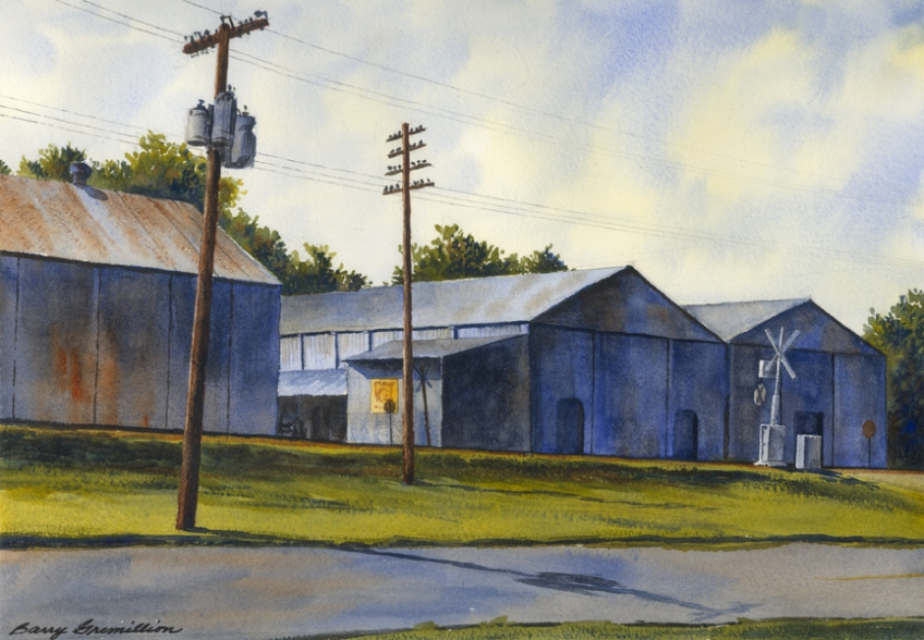 Watercolor of warehouses