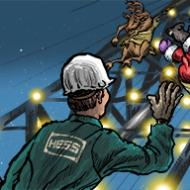 Santa and drilling rig
