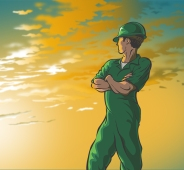 Illustration of an oilfield worker