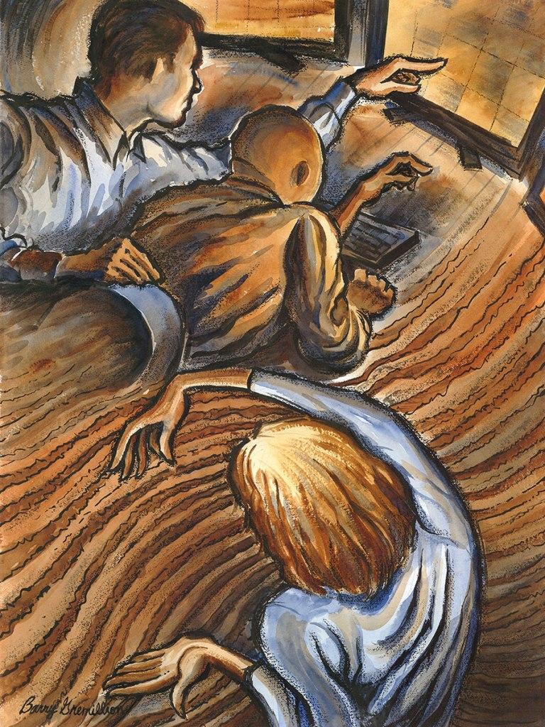 Illustration of oilfield technicians