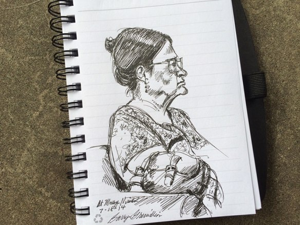 Pen and ink sketch of woman
