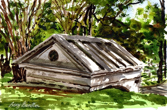 Watercolor of a mausoleum