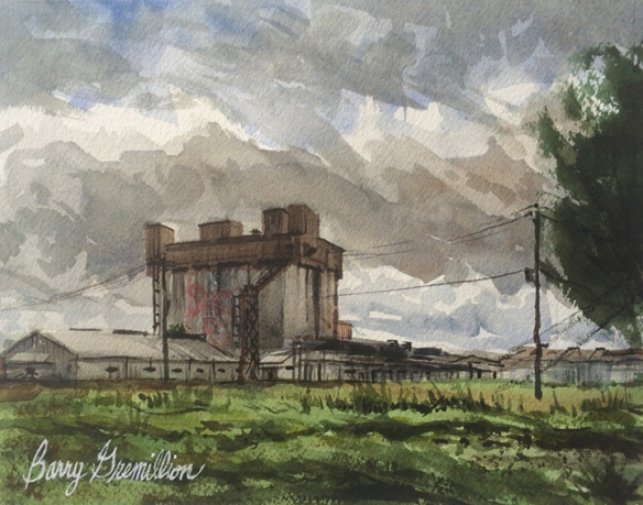 Watercolor of grain silo